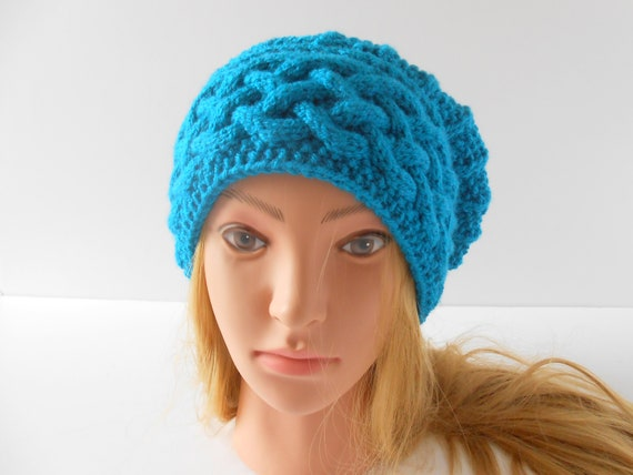 Celtic cable baggy beanie Teal slouch hat hand knit beret hat for women Christmas gift for wife Irish knit hats