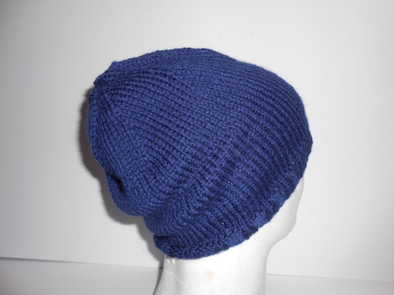 Ready to Ship Womens Knitted Navy Slouchy Beanie