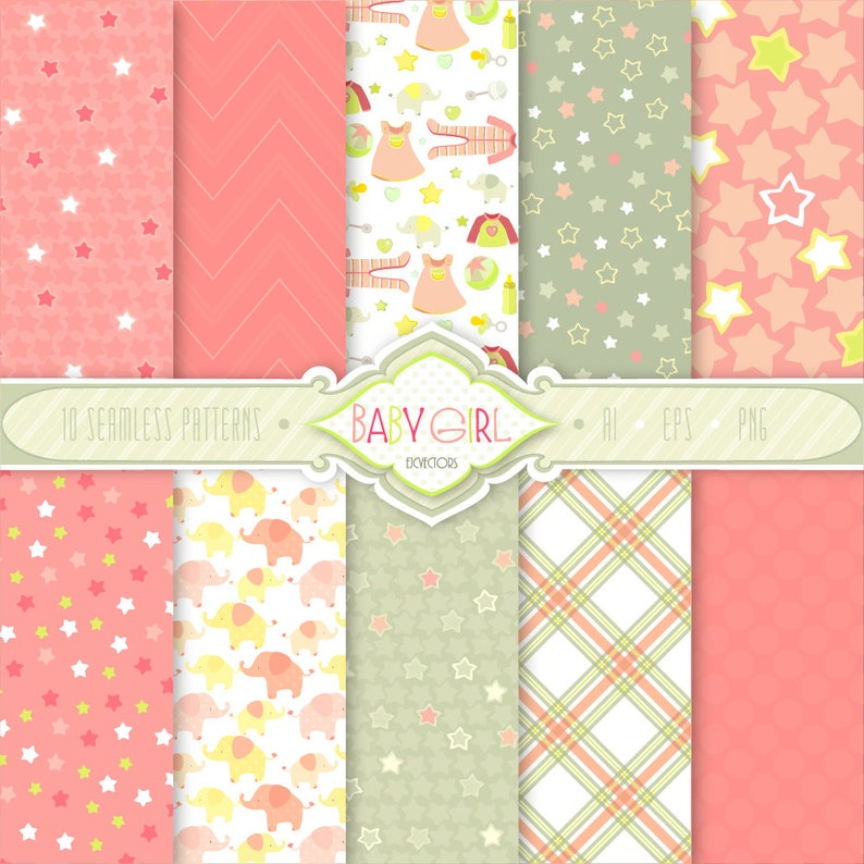 6427d5dd22af Grey   Pink Baby Girl Seamless Patterns  Vector files EPS 10