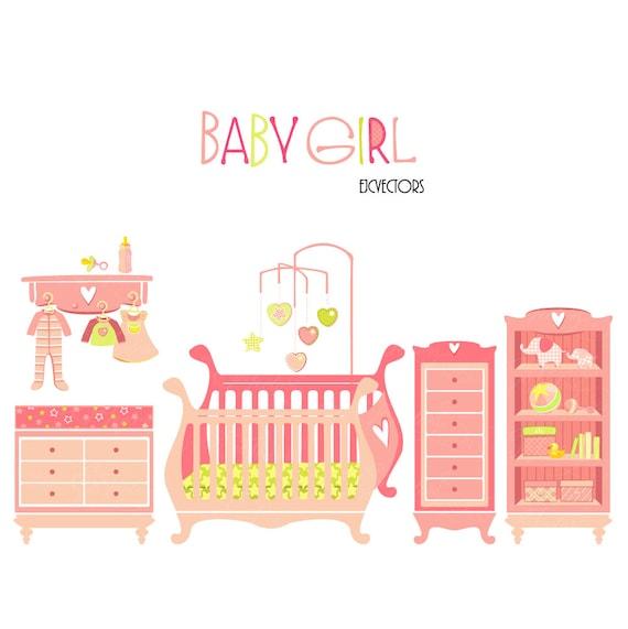 Niña habitación Clipart Pack: conjunto de muebles infantiles de bebé ...