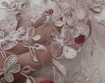 Purple Lace fabric, 3D French lace, Chantilly lace Bridal lace Lilac Wedding lace Veil lace Scalloped Floral lace Lingerie lace yard LUX9102