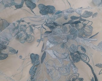 Light blue Lace fabric, 3D French lace, Chantilly lace Bridal lace Wedding lace Veil lace Scalloped Floral lace Lingerie lace yard LUX9107
