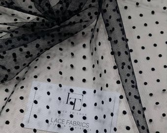 """Black dot tulle fabric, lingerie tulle fabric, evening dress tulle - 59"""" (150 cm) wide - sold per meter TK9502"""