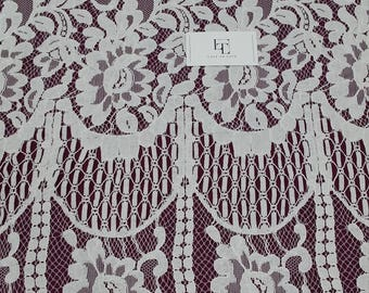 Ivory lace fabric, Embroidered lace, French Lace, Wedding Lace, Bridal lace, White Lace, Veil lace, Lingerie Lace, Alencon Lace ME925029