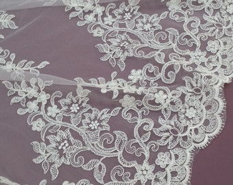 Ivory lace fabric by the yard French Lace Embroidered lace Wedding Lace Bridal lace White Lace Veil lace Lingerie Lace Alencon Lace EVS020B