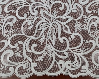 Ivory lace fabric, Embroidered lace, French Lace, Wedding Lace, Bridal lace, White Lace, Veil lace, Lingerie Lace, Alencon Lace EVS044C