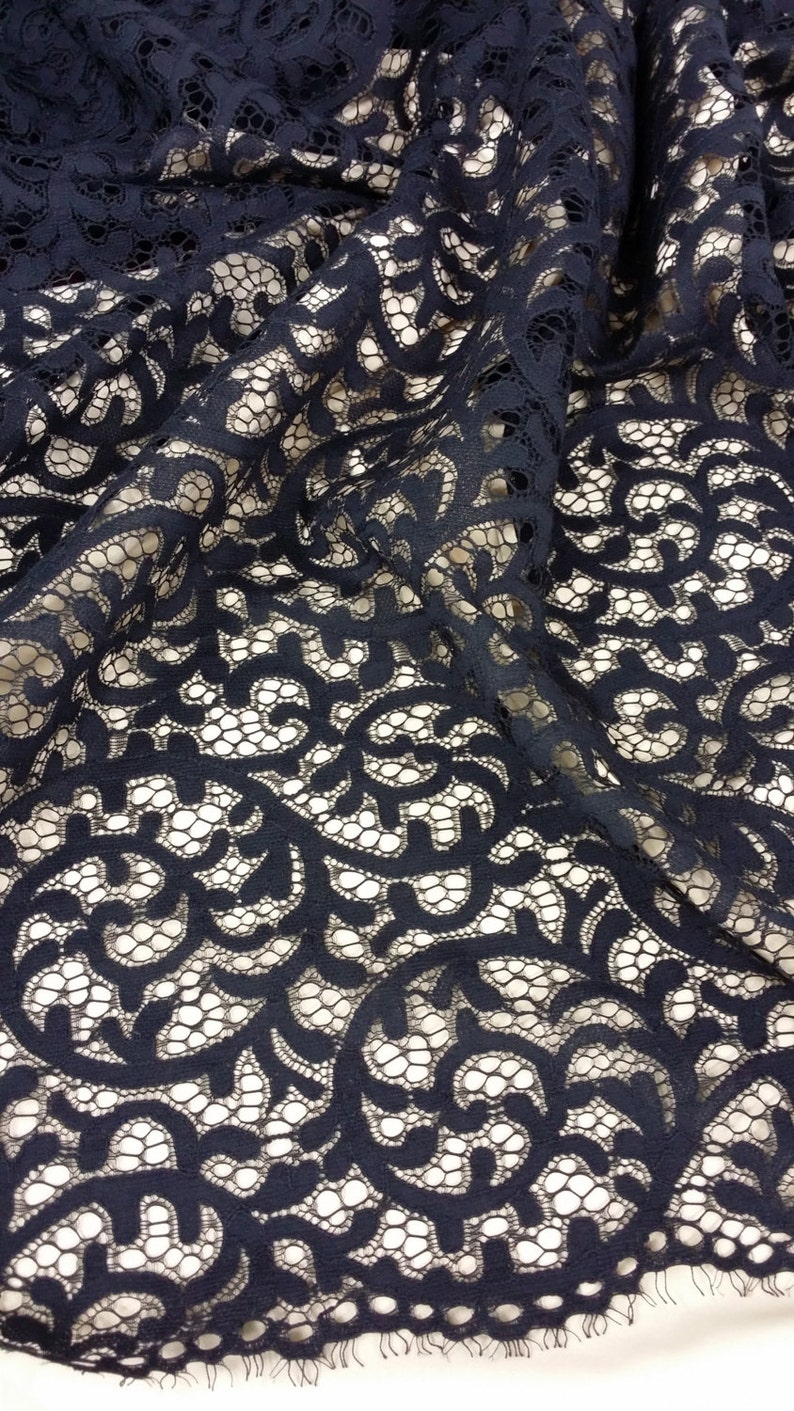 Embroidered lace Wedding Lace Bridal lace Veil lace Floral lace Lingerie Lace Alencon Lace L9933 Black lace fabric by the yard French Lace