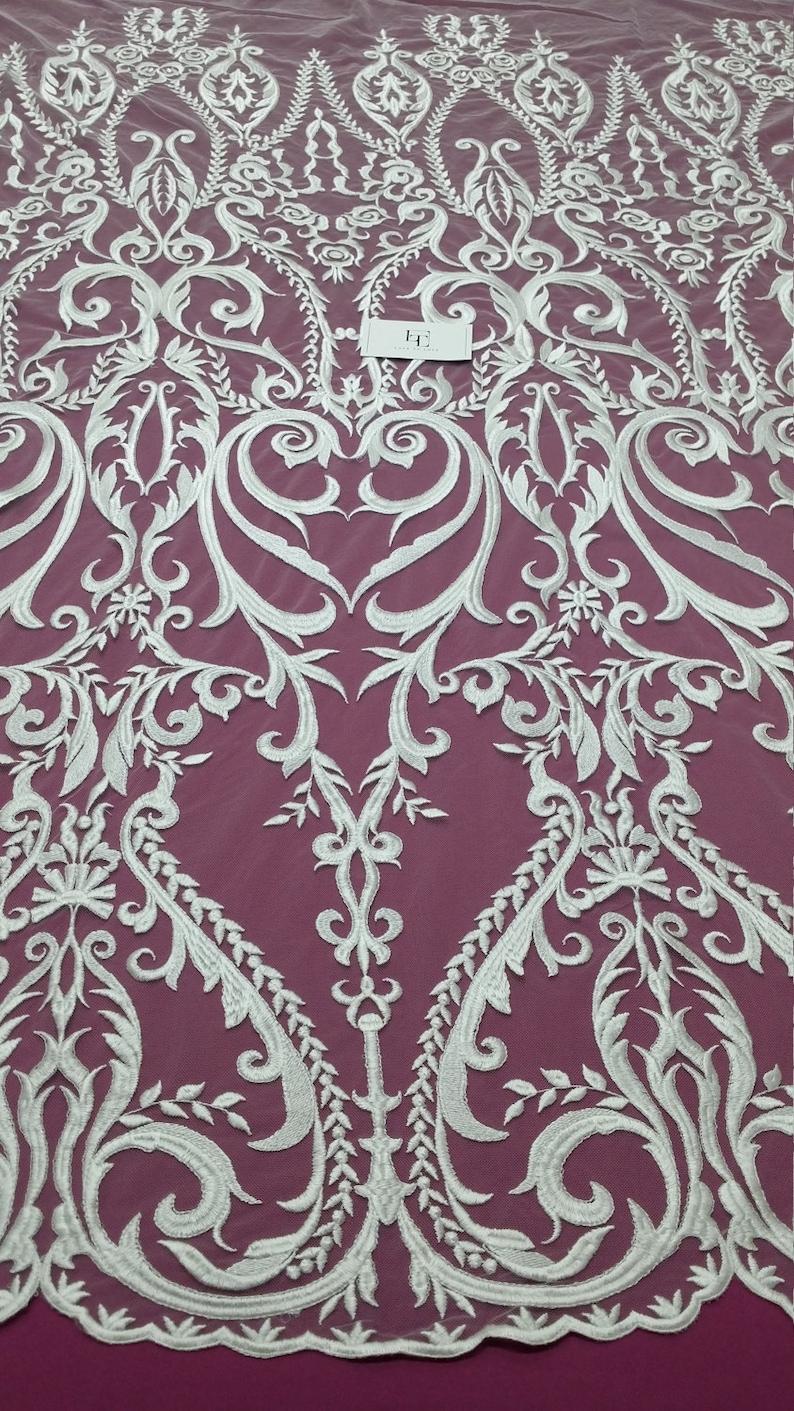 Lingerie Lace Embroidered lace Veil lace French Lace Wedding Lace Alencon Lace EVS080C White Lace Snow white lace fabric Bridal lace