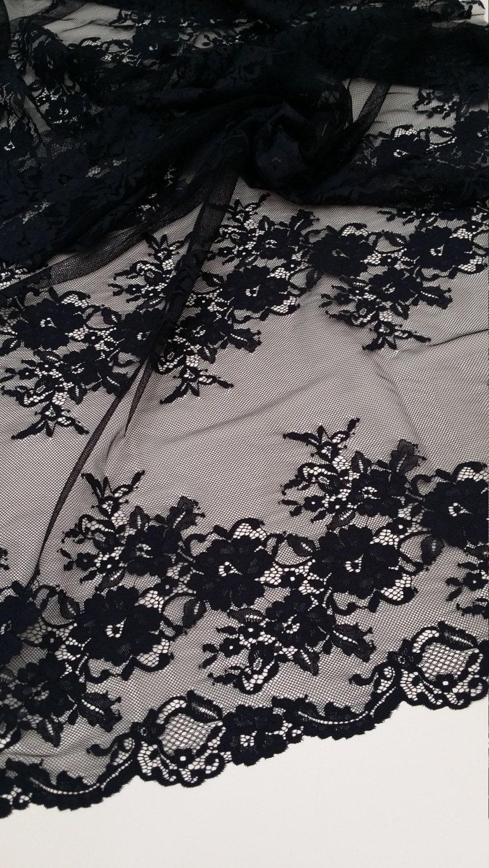 Dentelle noire tissu tissu tissu Français dentelle, dentelle de Chantilly, mariée dentelle mariage dentelle soirée robe dentelle festonnée Floral dentelle Lingerie dentelle J155501 21200b