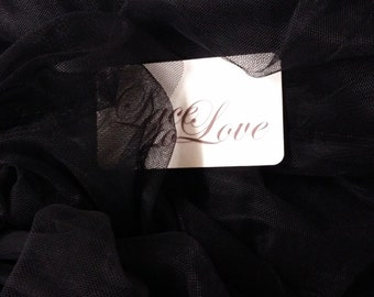 """Black tulle fabric, lingerie tulle fabric, evening dress tulle - 55"""" (140 cm) wide - sold per meter T13188"""