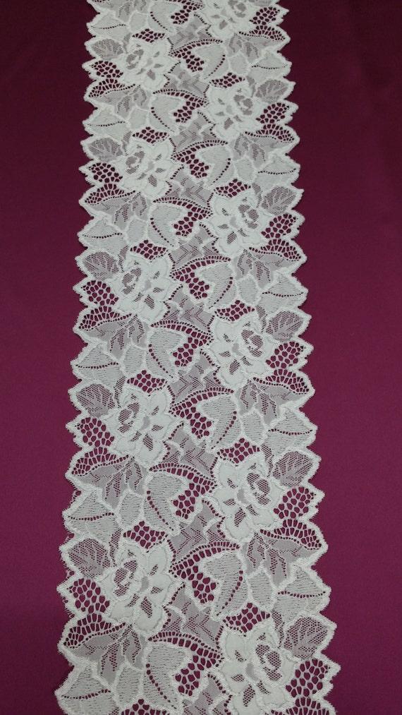 Off white stretch Lace Trim, French stretch Lace Chantilly Chantilly Lace Lace Wedding Lace White Lace Veil lace Scalloped lace Lingerie Lace trim JE52003 2785b9