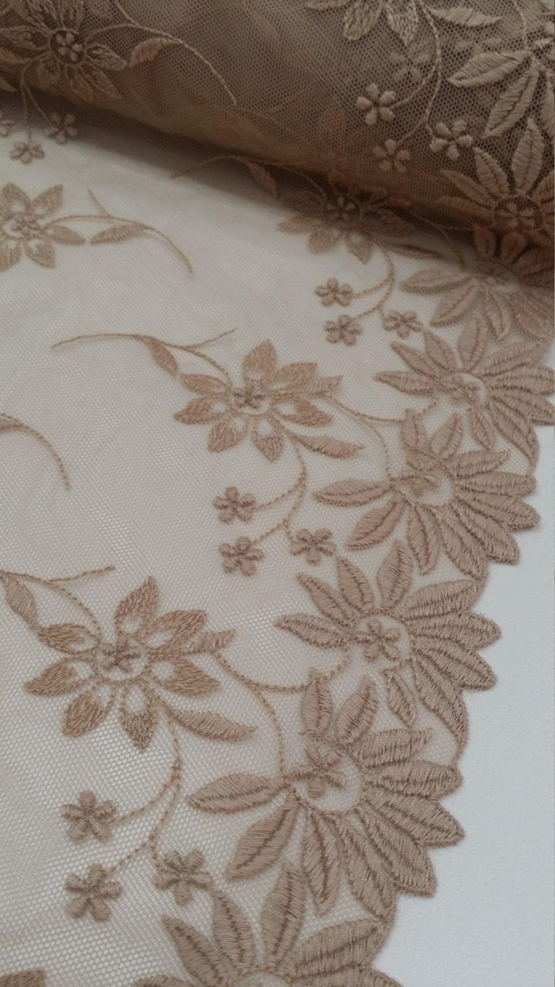 Light powder Lace Trimming by the yard Bridal Wedding Dress Trim White Lace Embroidered Mantilla L45011 Spanish Lace Trim Alencon Lace