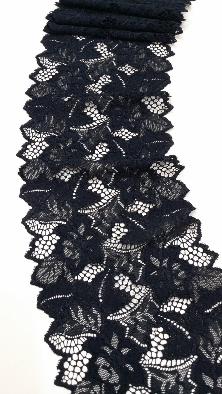 Noir stretch lace Trim, dentelle, dentelle, Trim, bordure en dentelle de Chantilly, Français dentelle mariée mariage dentelle festonnée de dentelle Floral dentelle Lingerie JE52001 846495