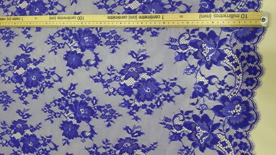 Bleu royal dentelle tissu Chantilly, Français dentelle, dentelle de Chantilly, tissu mariée dentelle mariage dentelle soirée robe dentelle festonnée Floral dentelle Lingerie J333011 581939