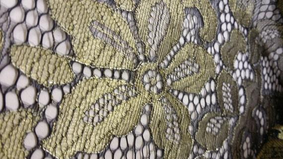 Robe or noir dentelle tissu dentelle Français dentelle Chantilly dentelle tissu de mariée en dentelle mariage dentelle soirée yard de Lingerie à la dentelle festonnée Floral dentelle L92719 d15762