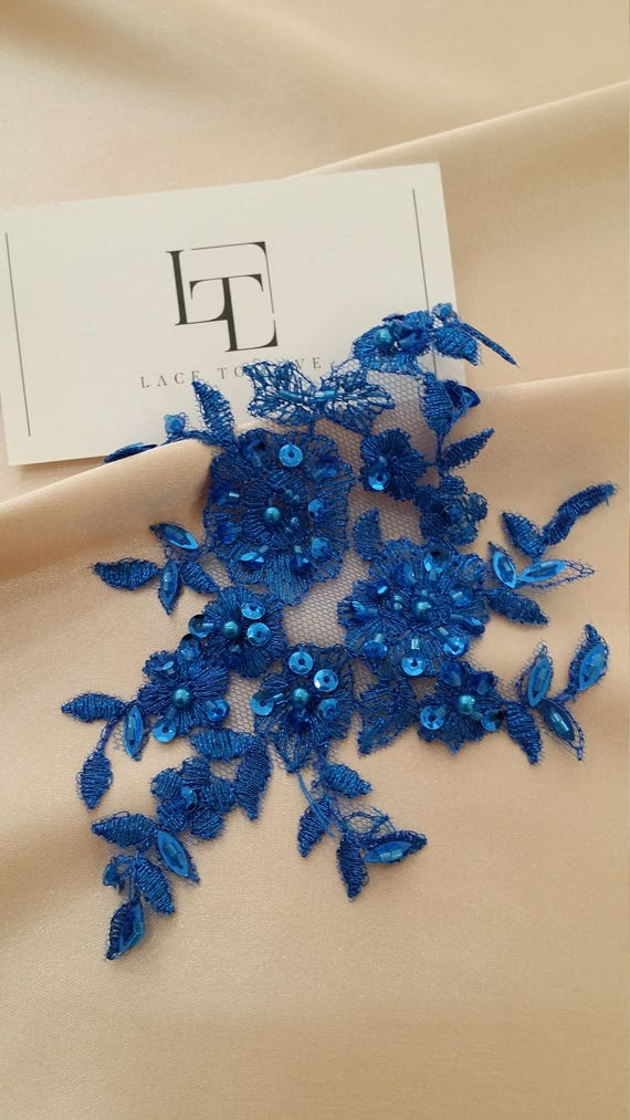 Blue applique M0048 Beaded lace applique French Chantilly lace applique 3D bridal lace applique