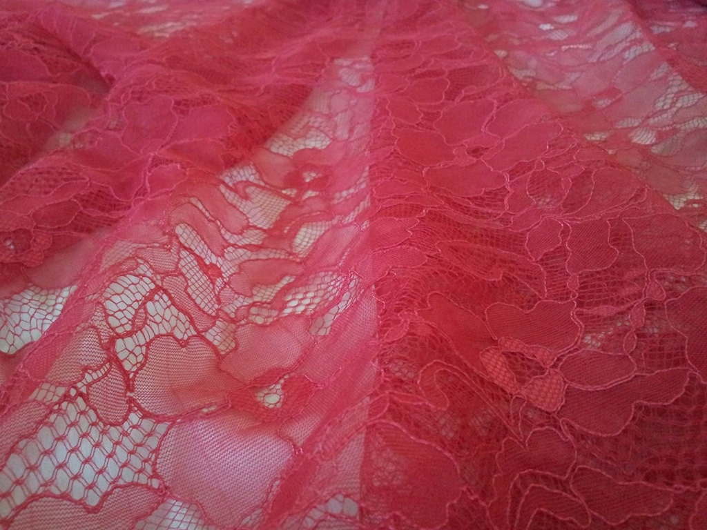 Pink lace fabric by the yard French Lace Alencon Lace ...