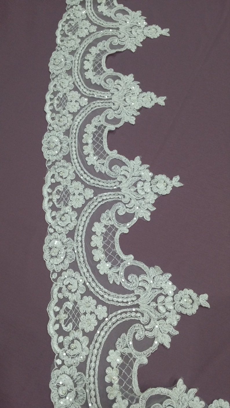 French lace trim Chantilly lace Bridal lace Pearl lace Beaded ivory lace trimming White lace L1129-2 Wedding lace Sequin lace trim