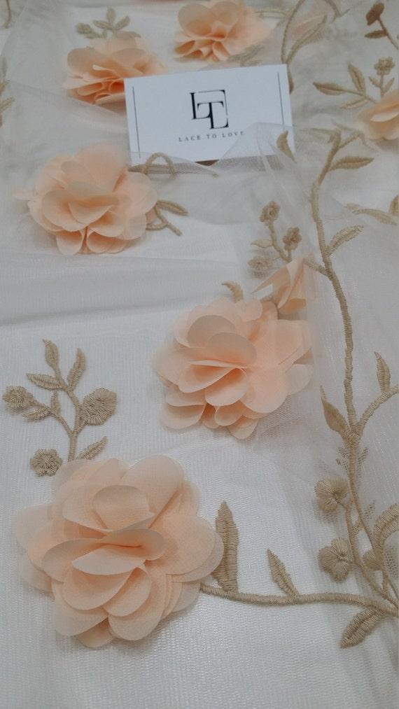 Tissu dentelle rose de saumon, tissu de rose luxe 3D dentelle, tissu dentelle de haute qualité Français chantilly, yard HF9004 brodé à la main de couleur pêche clair d332e8