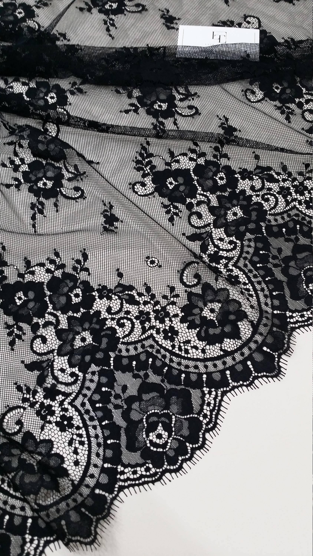 Dentelle noire tissu Français dentelle, dentelle de de de Chantilly, mariée dentelle mariage dentelle soirée robe dentelle festonnée Floral dentelle Lingerie dentelle BJ1001 37920c