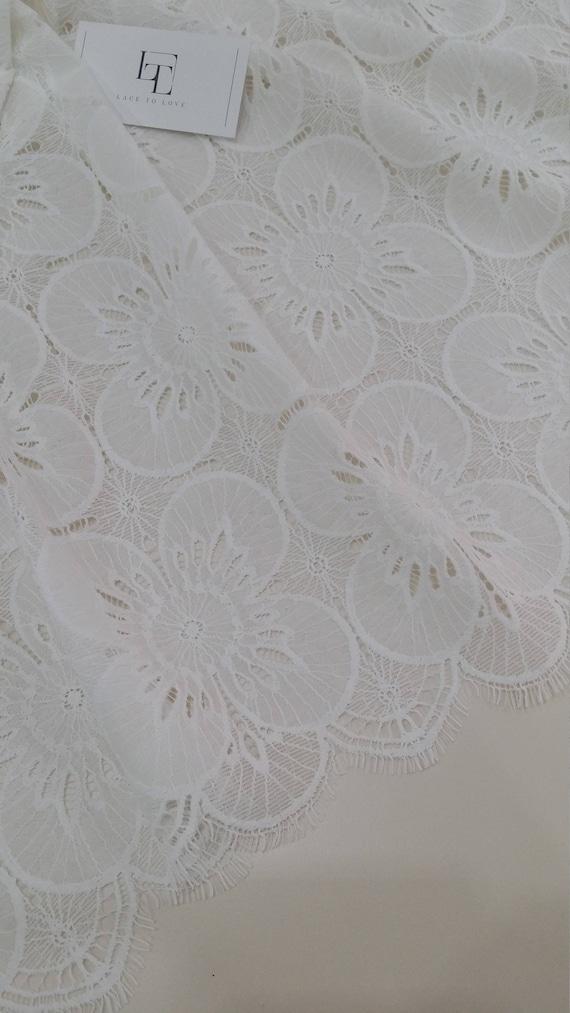 Ivory lace fabric Spanish Lace Embroidered lace Wedding | Etsy