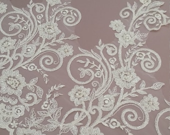 Beaded ivory lace trimming, Sequin lace trim, Pearl lace, French lace trim Chantilly lace, Bridal lace, Wedding lace, White lace EVSL007CB