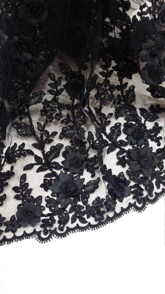 Tissu de de Tissu dentelle noire, dentelle 3D, perles dentelle, dentelle Français, mariée dentelle, dentelle de mariage voile dentelle festonnée Floral dentelle, dentelle de Lingerie EVS149CSBF cba604