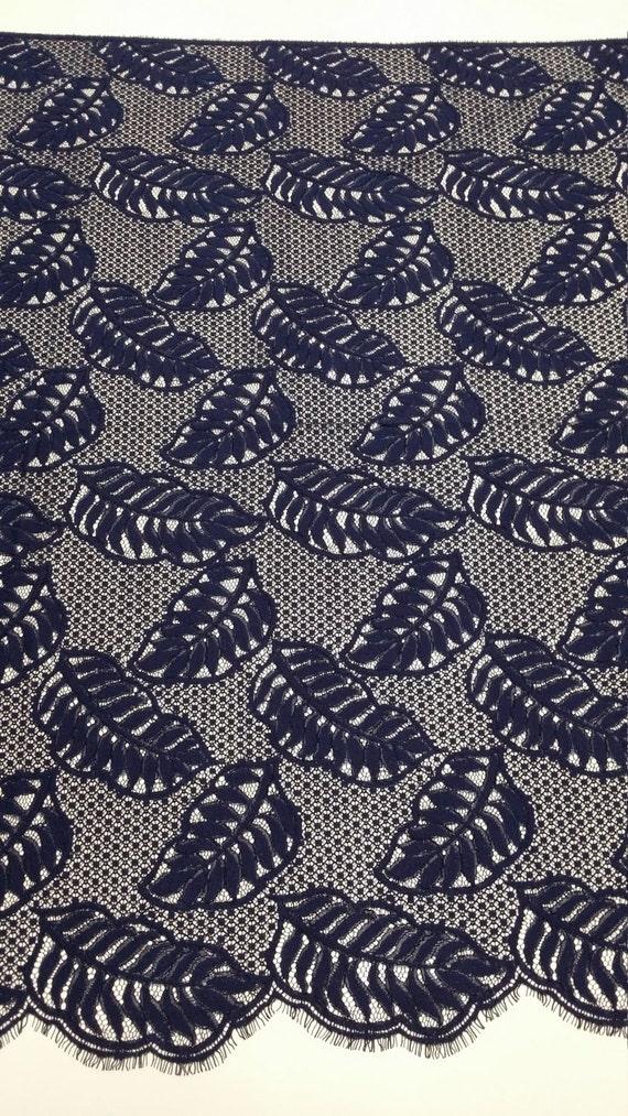 Tissu dentelle bleu foncé, bleu marine dentelle, mariée dentelle Chantilly dentelle dentelle Chantilly mariage dentelle soirée robe dentelle festonnée Floral dentelle Lingerie dentelle L88443 81b419