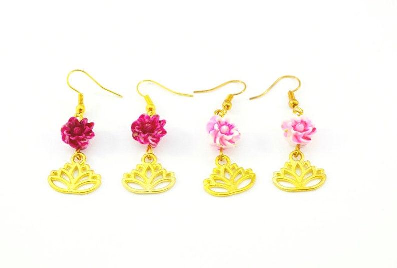 gold lotus charm Lotus earrings flower bead pink