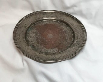 Vintage silver on copper tray