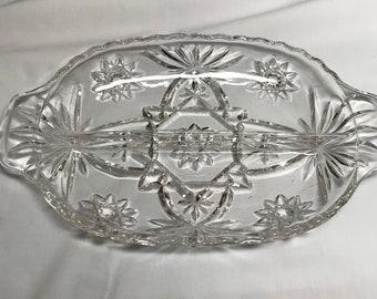 Vintage glass relish dish