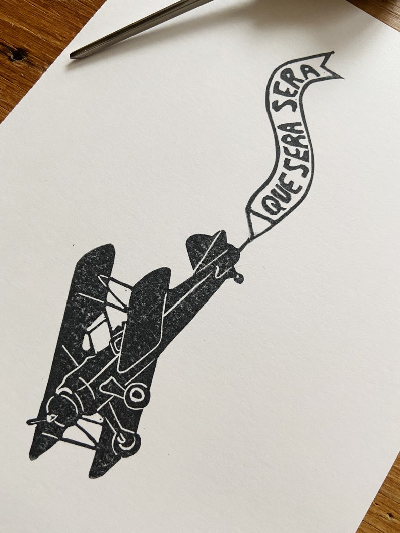Hand Carved Original Art Plane Print Block Print Que Sera Sera Hand Printed