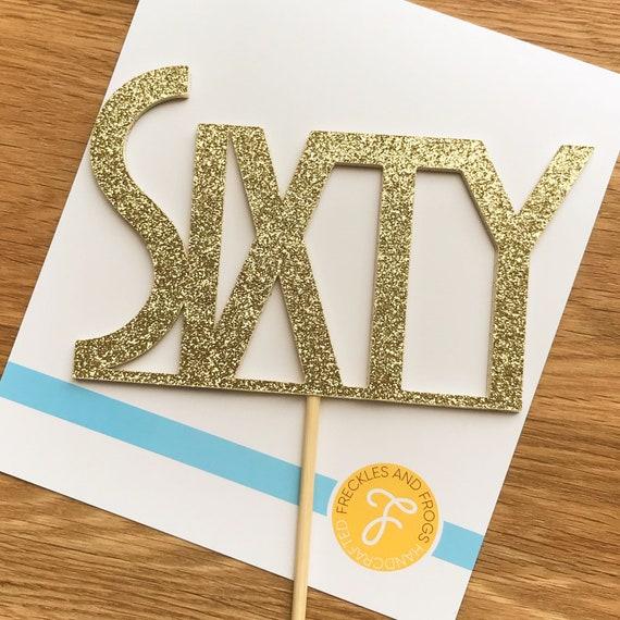 60 Cake Topper SILVER Glitter Card 60th Birthday Anniversary Sixty Sixtieth