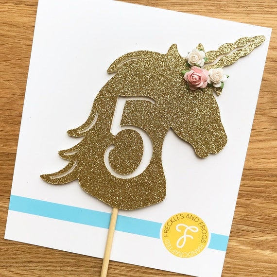 5th Birthday Unicorn Cake Topper
