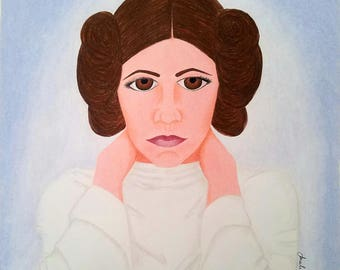 11x14 Original Prismacolor ' Star Wars: Princess Leia' Drawing
