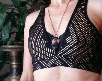 Warrioress Collection: Obsidian arrowhead and citrine with garnet electroformed copper necklace