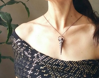 The Mermaid talisman: electroformed copper shell with  rose quartz and faceted garnet, boho gypsy style necklace