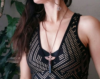 ISIS KEYS COLLECTION: Polished Obsidian, garnet and Isis Talisman style necklace! Electroformed copper- bohemian gypsy tribal fusion