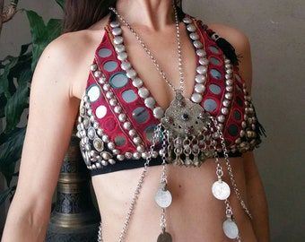Divine Dancer silver kutchi Body Chain: Tribal fusion body harness chain with vintage coins handmade bohemian, tribal style