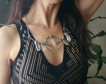ENCHANTED- polished clear Quartz crystal silver necklace boho gyspy tribal fusion style