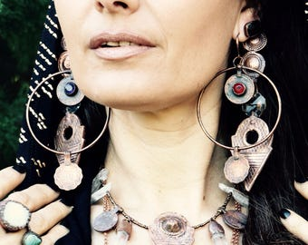 Warrioress Collection: hoop earrings- copper vintage coins handmade, bohemian, gypsy, tribal fusion style