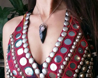 Obsidian arrowhead with amethyst Talisman style necklace! Silver- bohemian gypsy tribal fusion