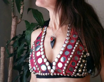 Obsidian arrowhead with carnelian Talisman style necklace! Silver- bohemian gypsy tribal fusion