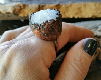 SALE Warrioress Collection- druzy white quartz electroformed copper ring size US 6.5