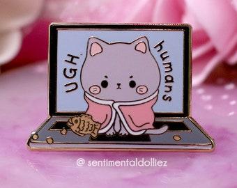cat pin, kawaii cat enamel pin, cute kitty hard enamel pin, pastel cat pin, angry cat pin, cat sitting on laptop pins