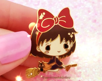 kikis delivery service, ghibli girls, kawaii enamel pins, studio ghibli pins, pins collections, kawaii hard enamel pins, kikis, jiji, ready