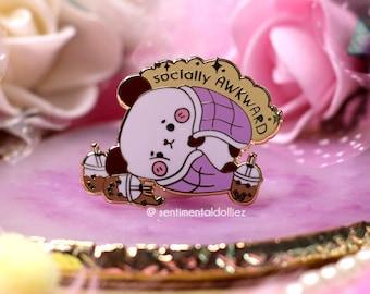 panda pin, kawaii panda enamel pin, socially awkward enamel pin, cute panda pin, bubble tea addict pin, mental health enamel pin