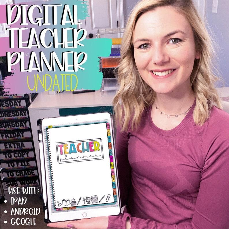 Digital Teacher Planner  Editable  iPad tablet Google  image 0