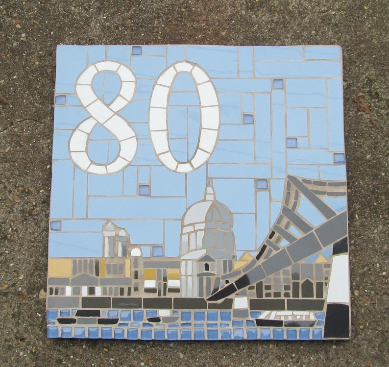 87fdbe15a6398 Decorative house number in mosaics; mosaic house sign/plaque; variety of  sizes, colours and themes available, eg the view from the house!