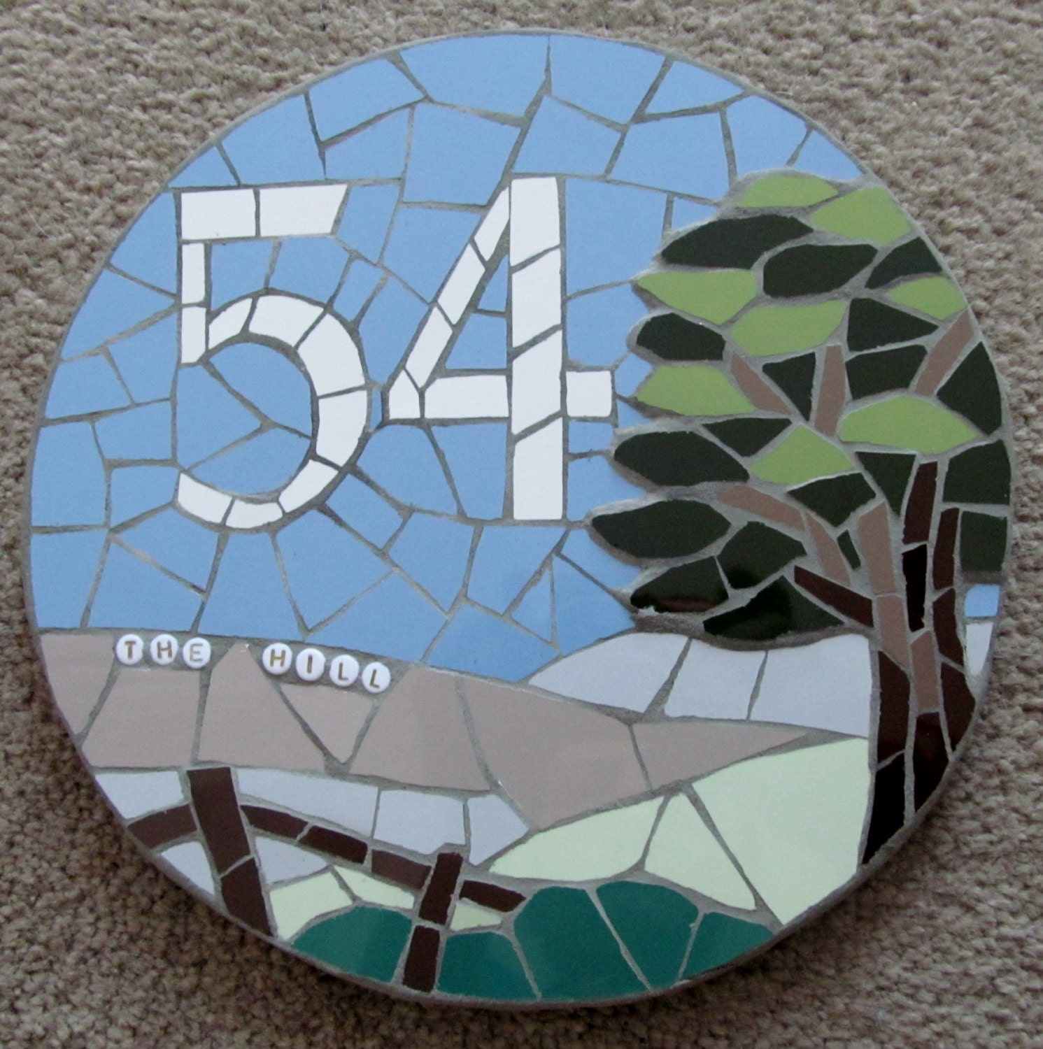67fe1eb5df749 Mosaic house number; mosaic house sign/plaque; variety of sizes, colours  and themes available, eg the view from the house!